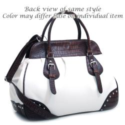 Dasein Large Studded Satchel with Croco Trim and Detachable Shoulder Strap - Thumbnail 2