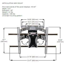 K2 Mounts K4-A1-B Articulating Wall Mount