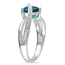 Miadora Sterling Silver 1ct TGW Created Emerald and Diamond Accent Ring