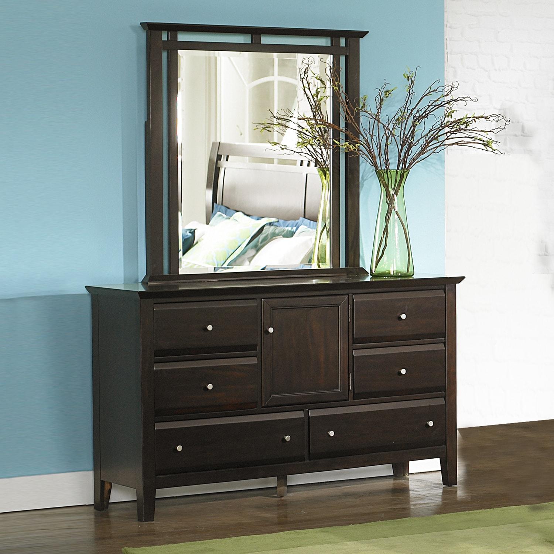 Ikle Rich Espresso Transitional 6-drawer Storage Dresser and Mirror