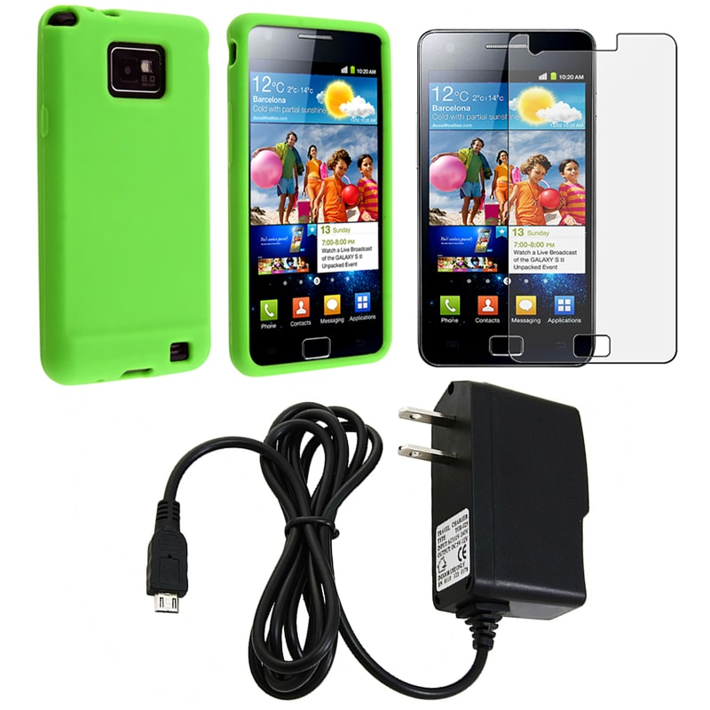 Silicone Case/ Screen Protector/ Travel Charger for Samsung Galaxy S 2