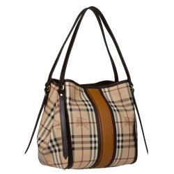 Burberry Small Beige/Brown Canvas Check Tote Bag
