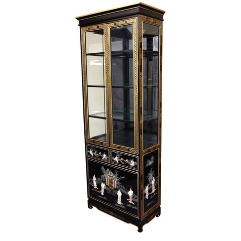 Handmade Tall Black Lacquer Curio Cabinet - Mother of Pearl Ladies (China)