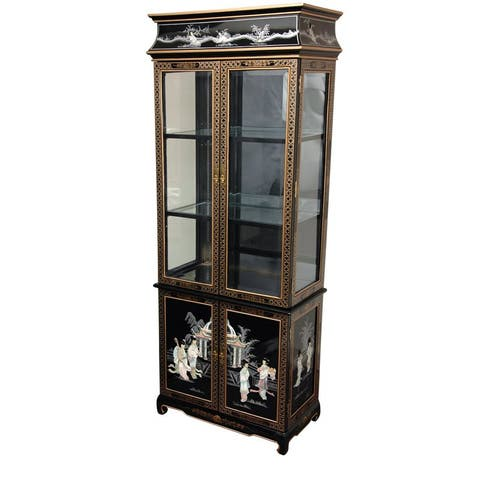 Handmade Mother of Pearl Ladies Black Lacquer Curio Cabinet