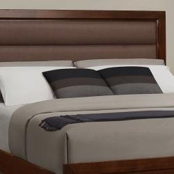 Amble Warm Cherry Finish Brown Fabric Paded Queen-size Bed