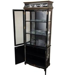 Handmade Black Lacquer Curio Cabinet - Mother of Pearl Ladies (China)