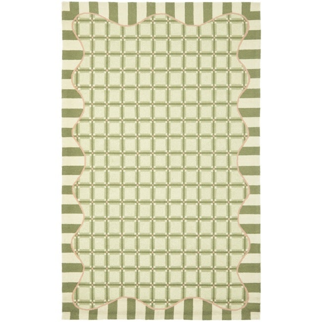 Safavieh Hand-hooked Chelsea Ivory/ Green Wool Rug (3'9 x 5'9) - Thumbnail 0