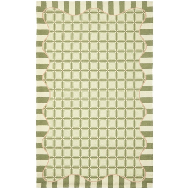 Safavieh Hand-hooked Chelsea Ivory/ Green Wool Rug (7'6 x 9'9)