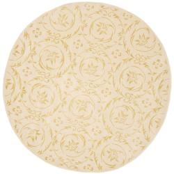 Safavieh Handmade Zen Bouquet Beige Wool and Silk Rug (4' x 4' Round)