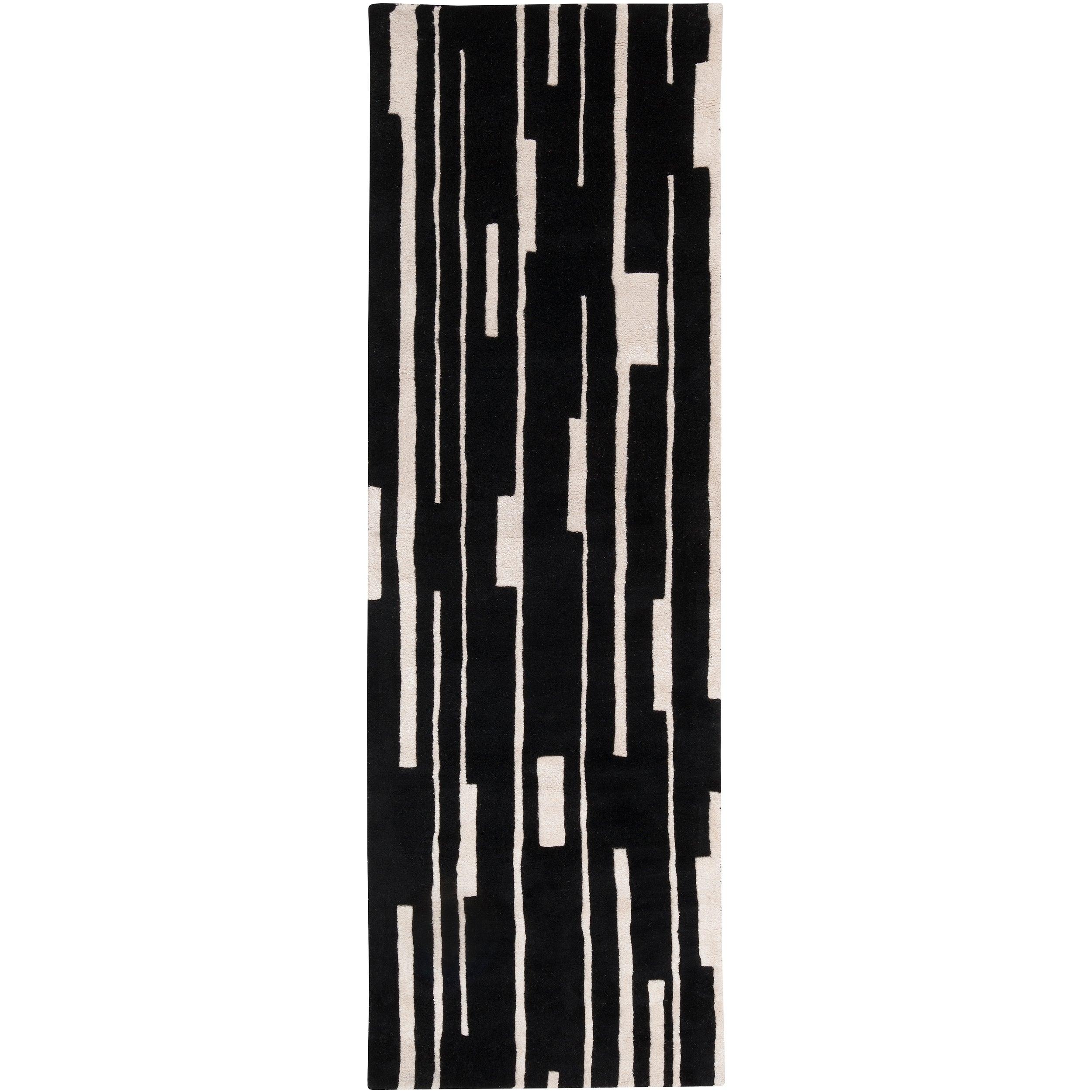 Hand-tufted Black Cane Geometric Wool Rug (2'6 x 8')