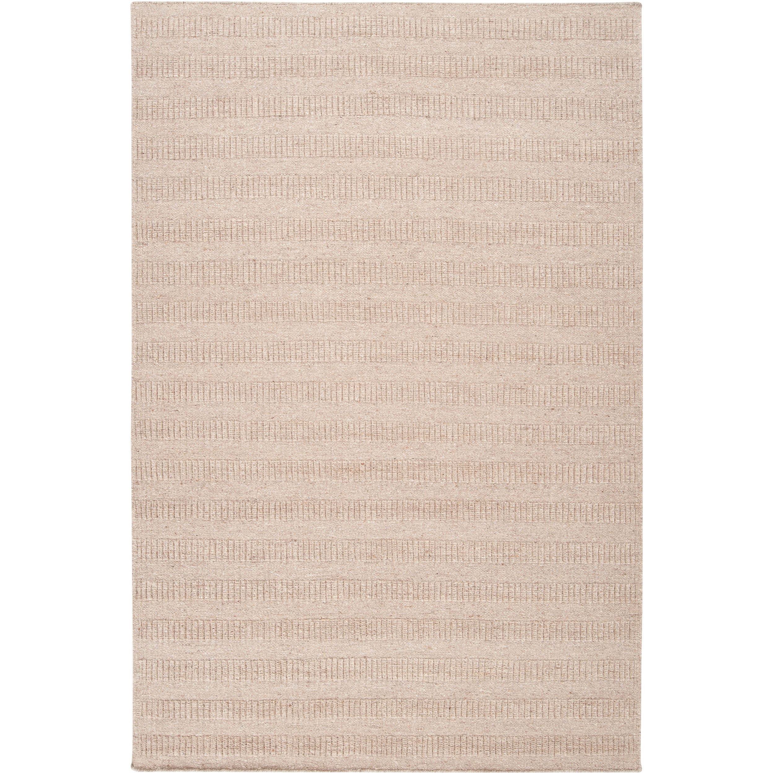 Hand-crafted Solid Beige Baham Wool Area Rug (8' x 10') - 8' x 10'