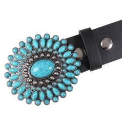 Journee Collection Women's Turquoise Stone Buckle Leather Belt