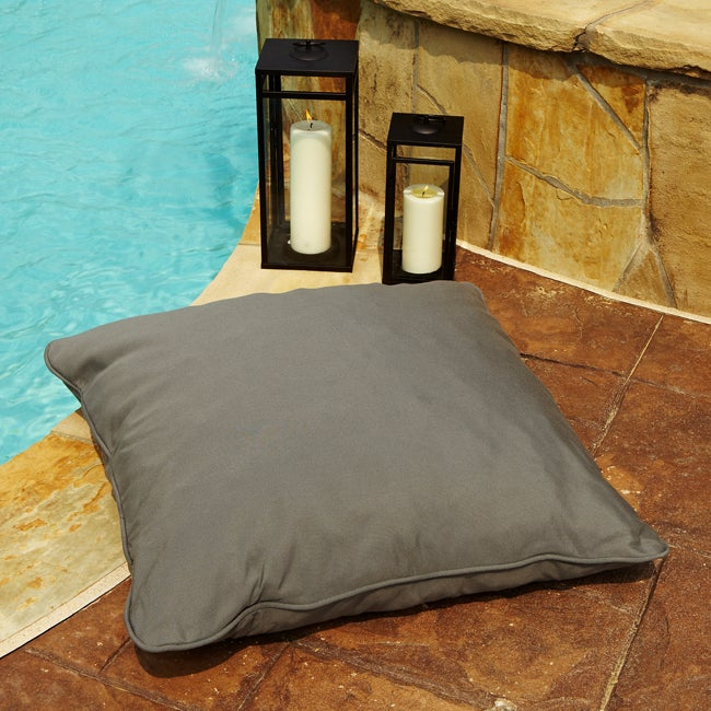 Clara Grey 26 Inch Square Outdoor Sunbrella Floor Pillow On Free Shipping Today 6707235
