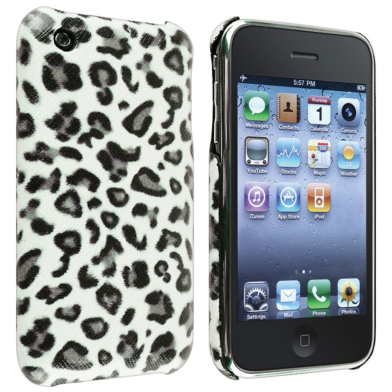 Grey Leopard Snap-on Leather Textured Case for Apple iPhone 3G/ 3GS