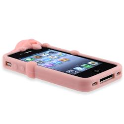 Light Pink Peeking Dog Silicone Skin Case for Apple iPhone 4/ 4S - Thumbnail 1