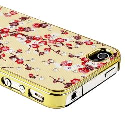 Pink Blossom with Gold Side Snap-on Case for Apple iPhone 4/ 4S