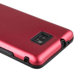 Black Skin/ Red Aluminum Hybrid Case for Samsung Galaxy S II i9100