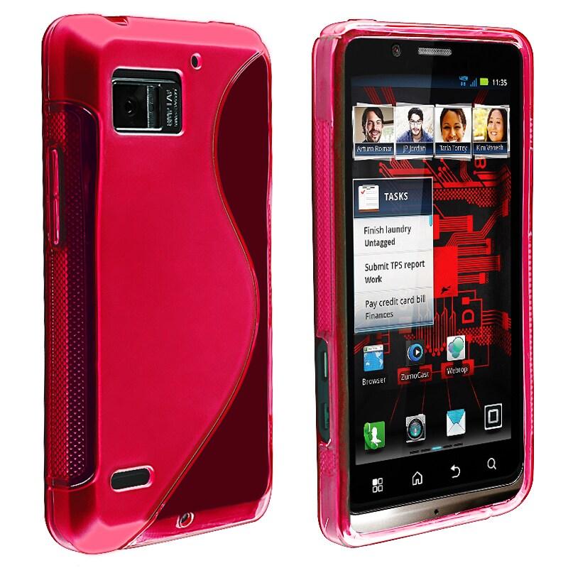 Clear Hot Pink S Line TPU Case for Motorola Droid Bionic Targa XT875