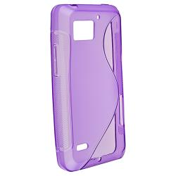 Clear Purple S Line TPU Case for Motorola Droid Bionic Targa XT875 - Thumbnail 1