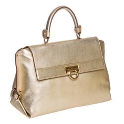 Salvatore Ferragamo Gold Metallic Leather Satchel