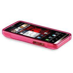 Clear Hot Pink S Line TPU Case for Motorola Droid Bionic Targa XT875 - Thumbnail 2