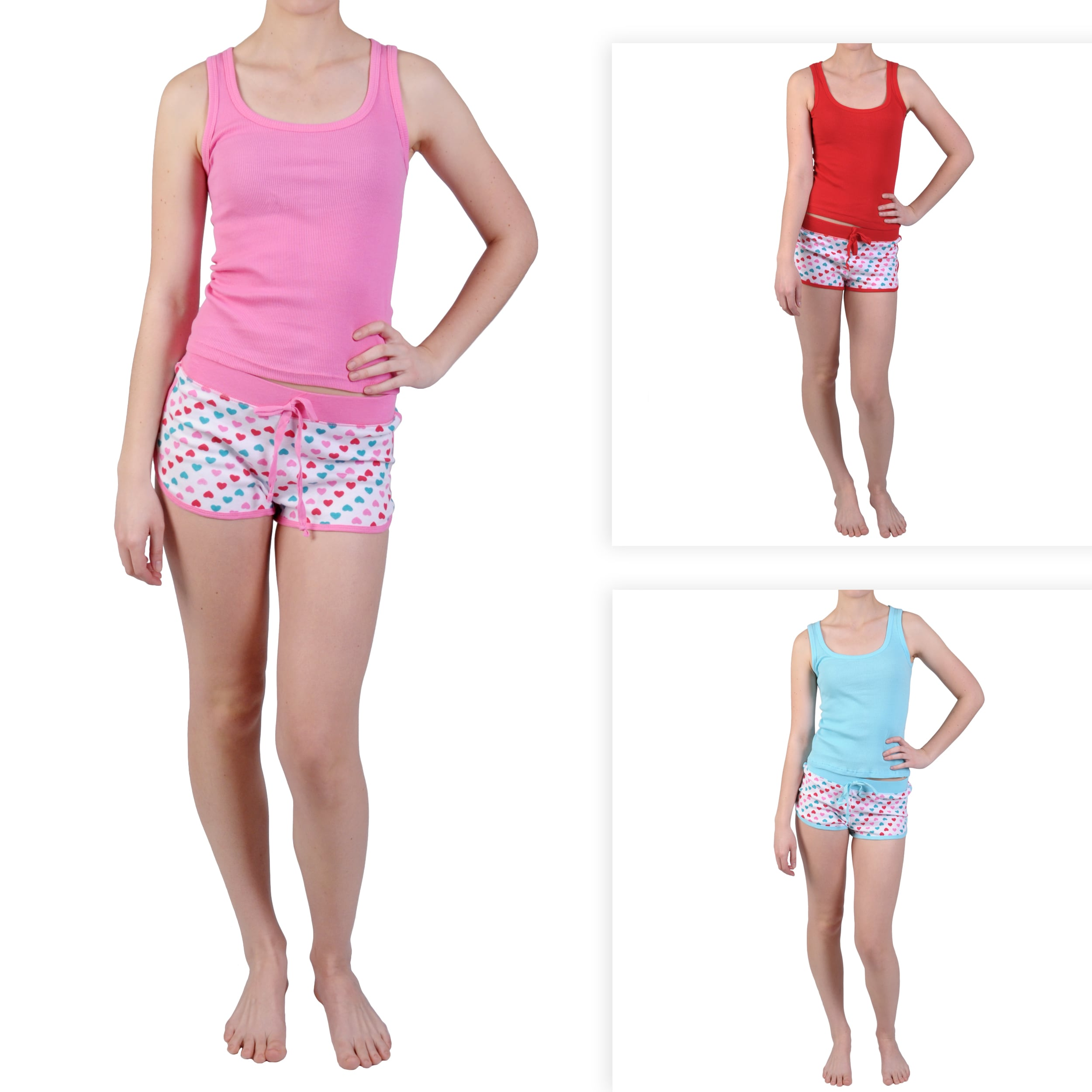 Journee Collection Junior's Knit Heart Detail Tank/ Short Set