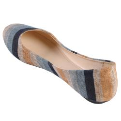 Journee Collection Women's 'Crush-80' Multi-color Striped Ballet Flats - Thumbnail 1