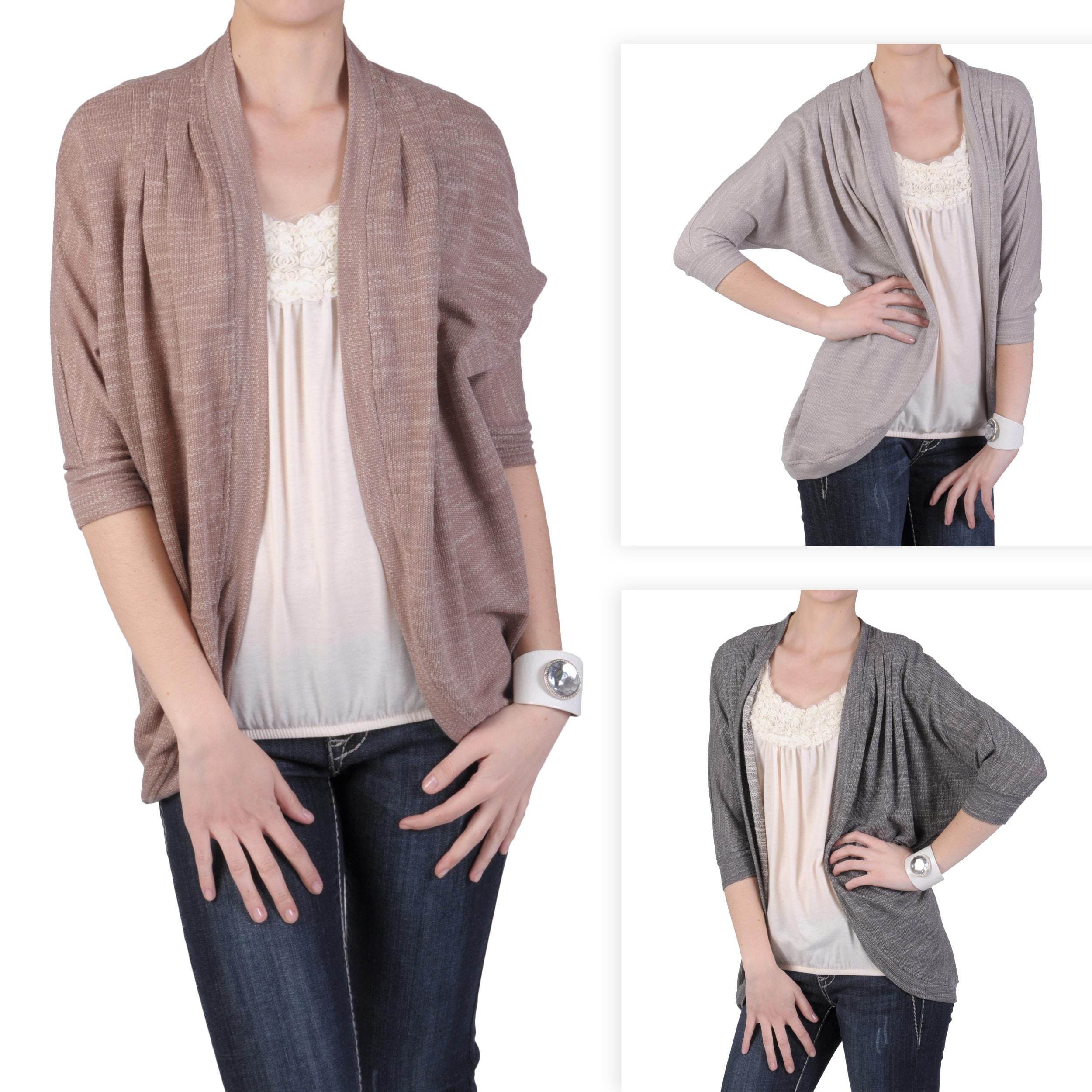 Journee Collection Women's Half-sleeve Open Front Long Cardigan