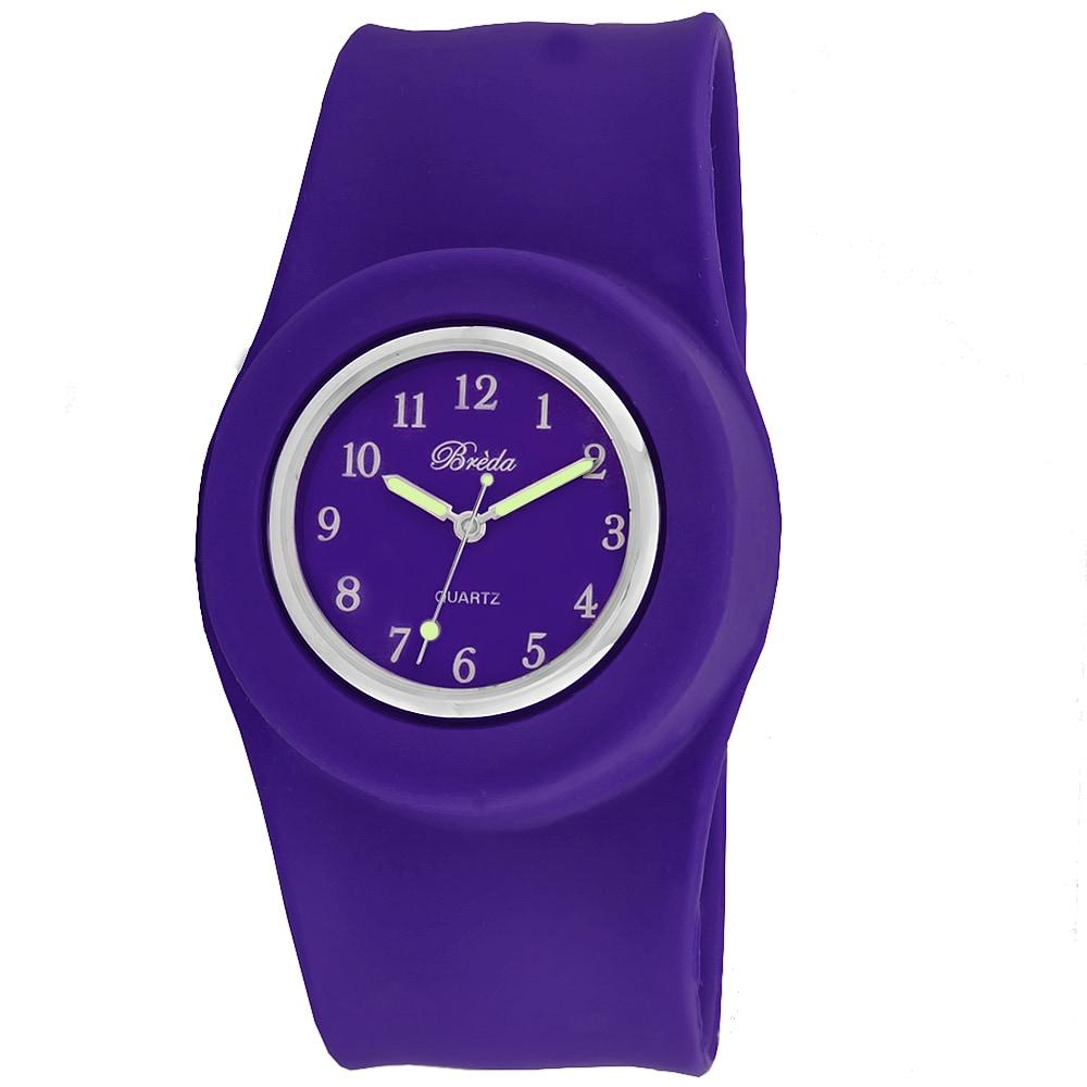 Breda Women's 'Lilly' Slap-on Purple Silicone Watch