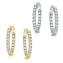 14k Gold 1 1/2ct TDW Diamond Hoop Earrings (J-K, I1-I2)