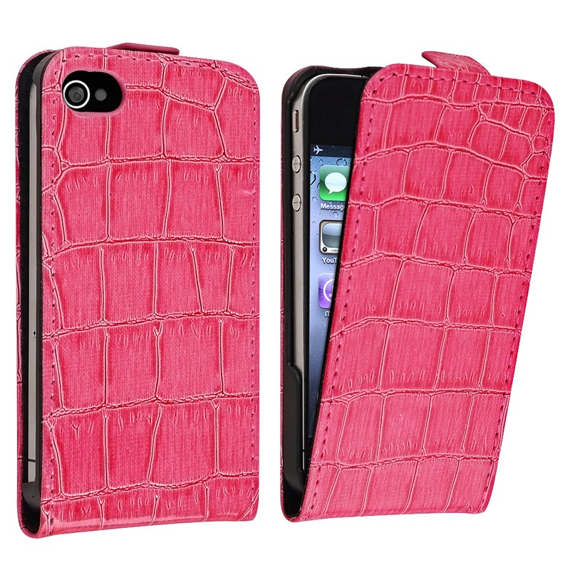 Hot Pink Crocodile Leather Case for Apple iPhone 4/ 4S - Thumbnail 0