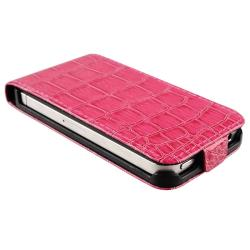 Hot Pink Crocodile Leather Case for Apple iPhone 4/ 4S - Thumbnail 2