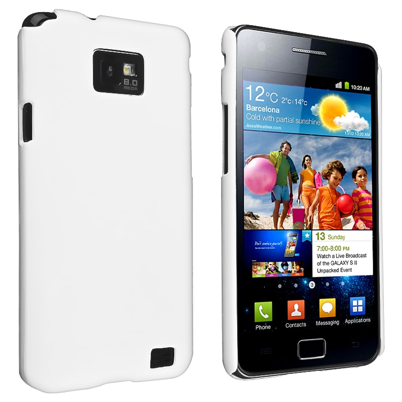 White Snap-on Rubber Coated Case for Samsung Galaxy S II i9100