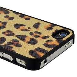INSTEN Yellow Leopard Rear Snap-on Leather Phone Case Cover for Apple iPhone 4/ 4S
