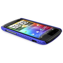 Blue Meshed Rear Snap-on Rubber Coated Case for HTC Sensation 4G