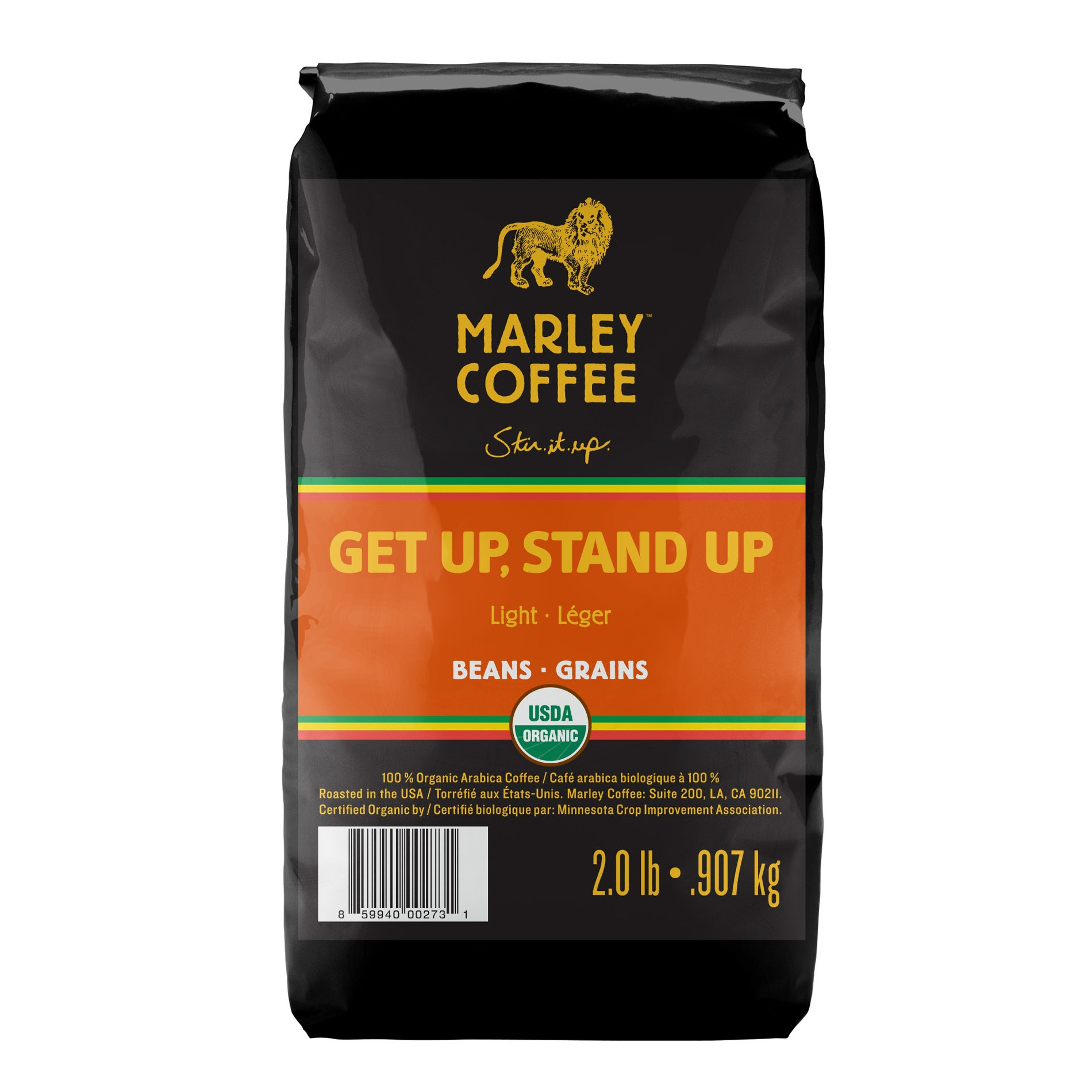 Marley Coffee Get Up Stand Up Whole Bean Coffee (2 Pounds)