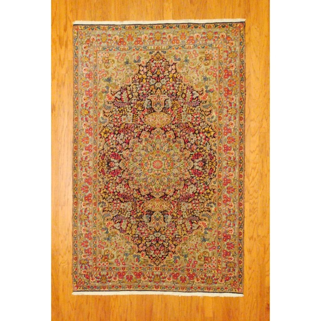 Persian Hand-knotted Kirman Navy/ Light Blue Wool Rug (5' x 7'9)