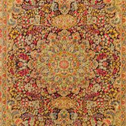 Persian Hand-knotted Kirman Navy/ Light Blue Wool Rug (5' x 7'9) - Thumbnail 1