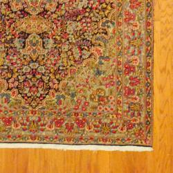 Persian Hand-knotted Kirman Navy/ Light Blue Wool Rug (5' x 7'9) - Thumbnail 2