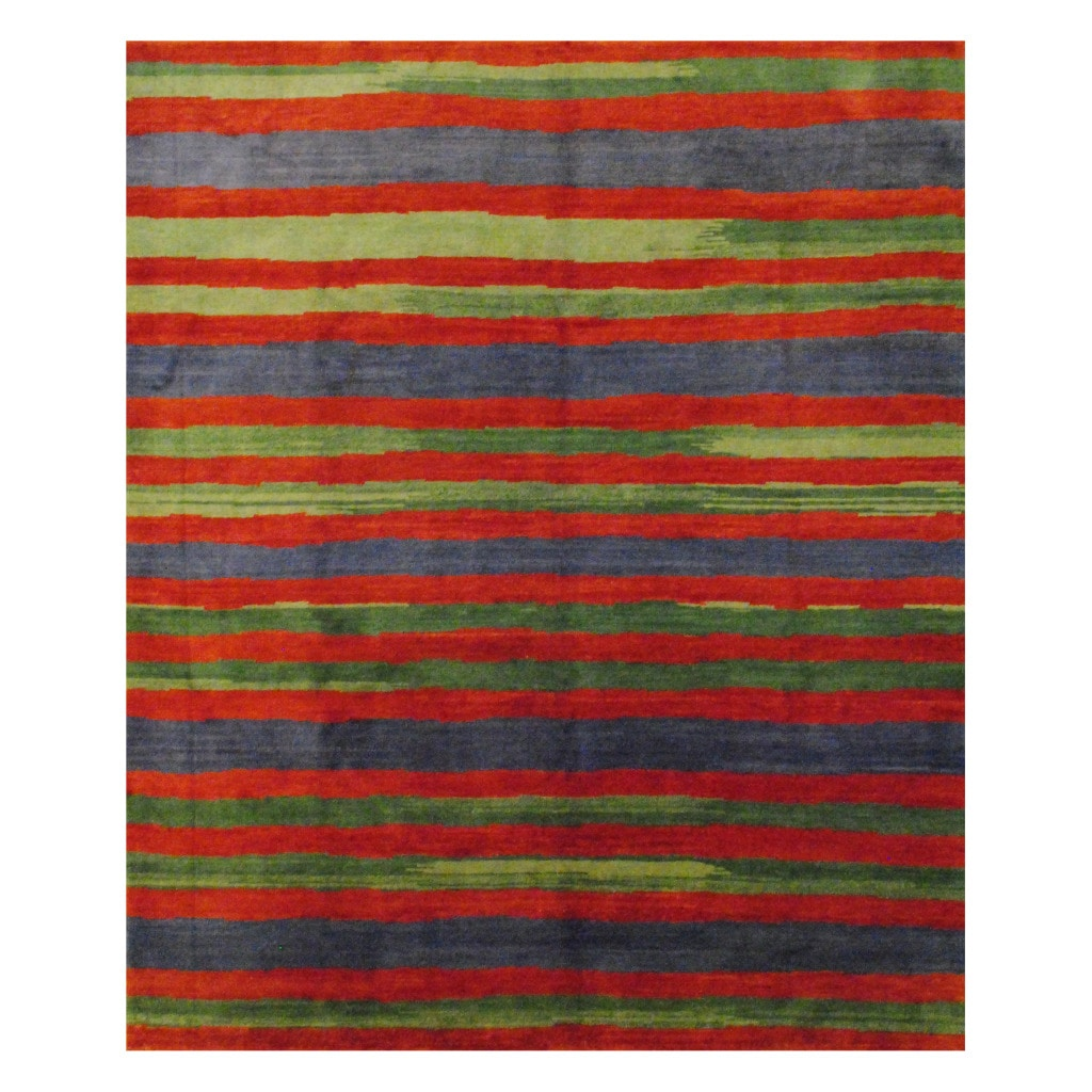 Tibetan Hand-knotted Rust/ Green Wool Rug (8' x 9'9)