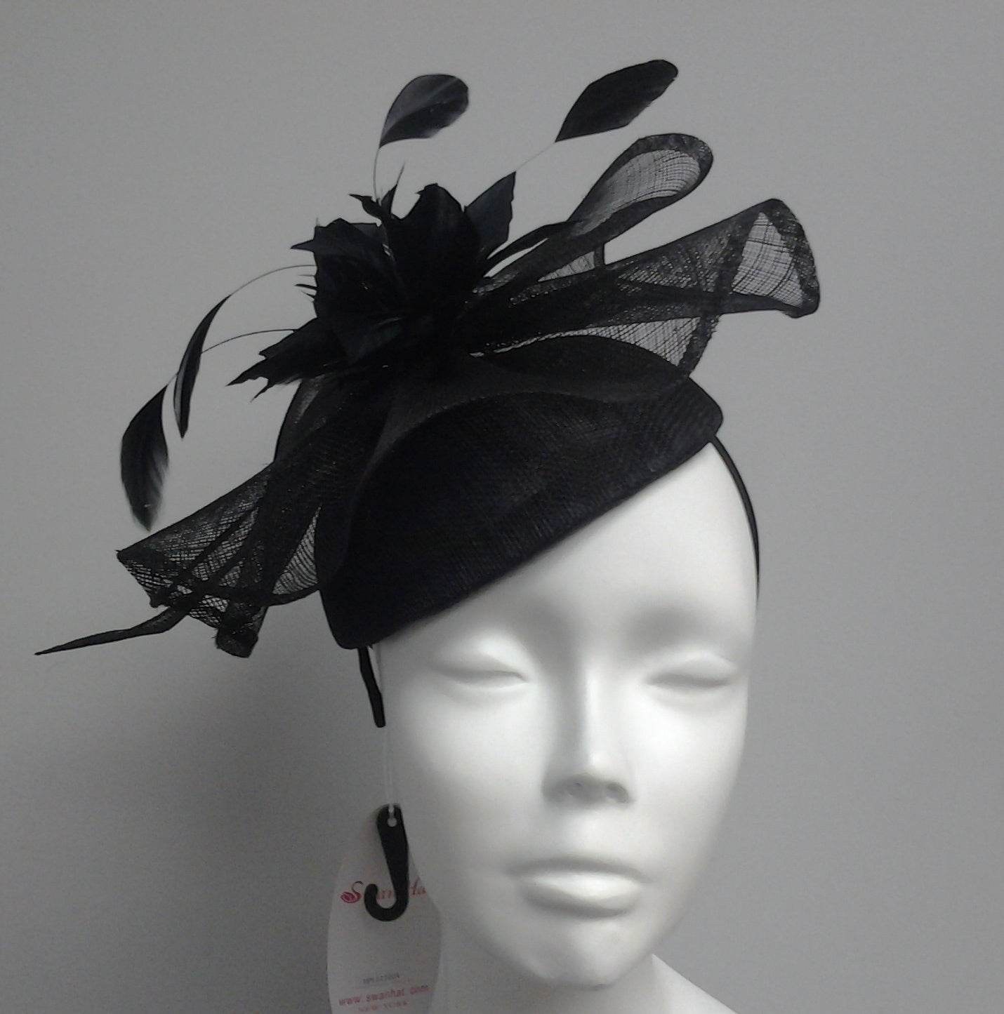 Swan Hat Black Elegant Cocktail Fascinator
