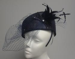 Navy Elegant Synamay Pillbox/ Cocktail Fascinator