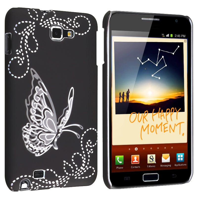 Black Butterfly Rubber Coated Case for Samsung Galaxy Note i9220