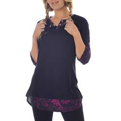 Lilac Clothing Women's Maternity Cindi Black/Plum Top