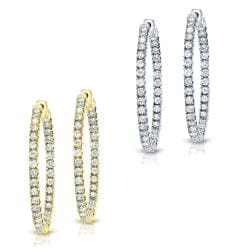 14k Gold 3/4ct TDW Diamond Hoop Earrings (J-K, I1-I2)