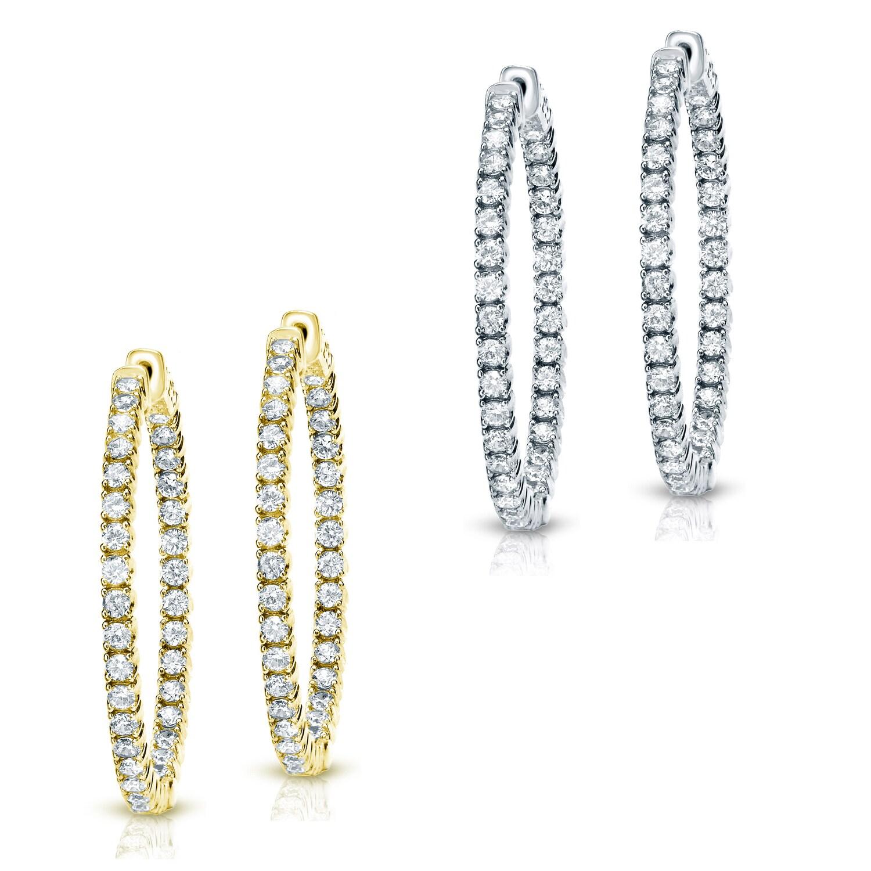 14k Gold 3/4ct TDW Diamond Hoop Earrings
