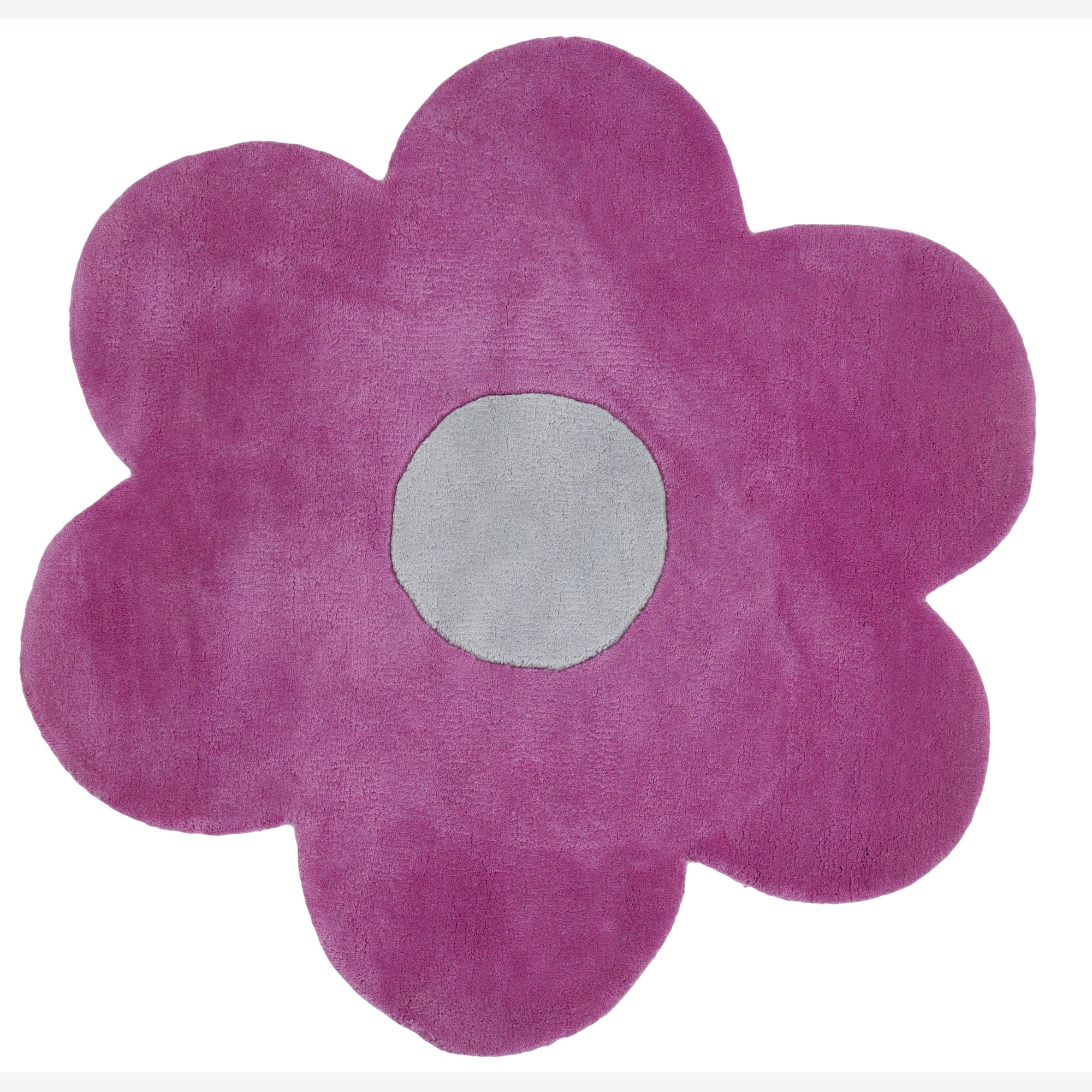 Hand Tufted Mandara Party Pink Flower Shape Wool Rug 3 3