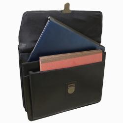 Kenneth Cole New York Business Leather Dowel Rod 15.4-inch Computer Laptop Portfolio Briefcase