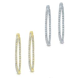 14k Gold 1 1/2ct TDW Diamond Hoop Earrings