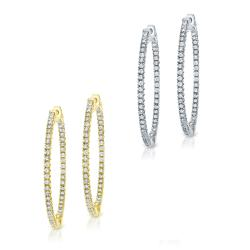 14k Gold 2ct TDW Diamond Hoop Earrings